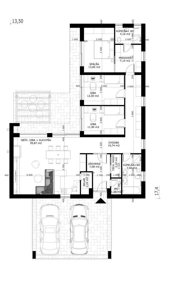 Projekt Domu 4 Izbovy Bungalov Maurizia Domprojekt